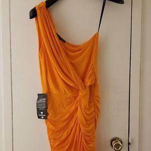 BEBE ORANGE ONE SHOULDER DRESS